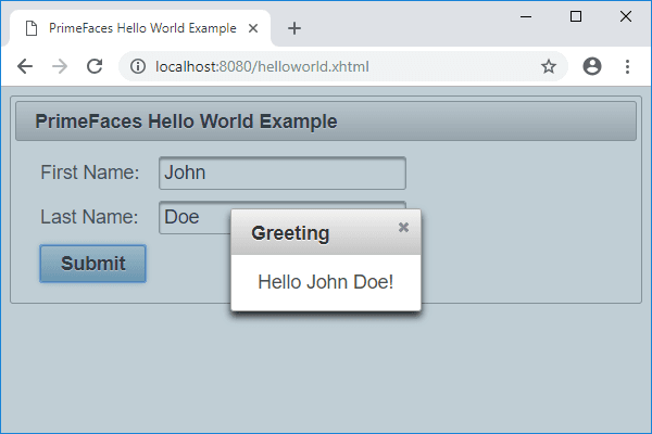 jsf primefaces hello world example greeting