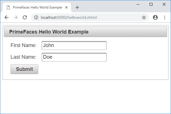 jsf primefaces hello world example