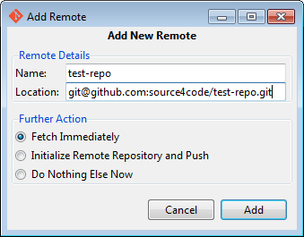 git gui add new remote