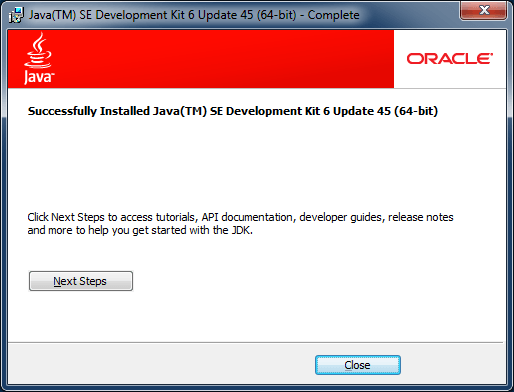 java 6 installer finish