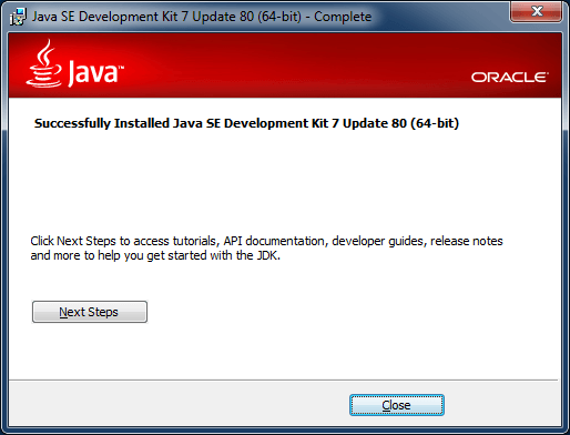 java 7 installer finish