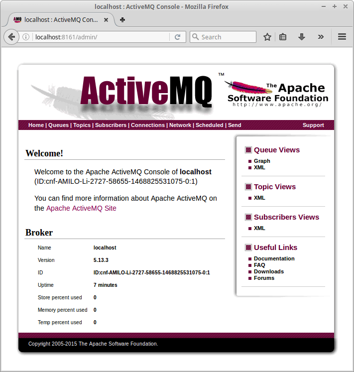apache activemq console welcome