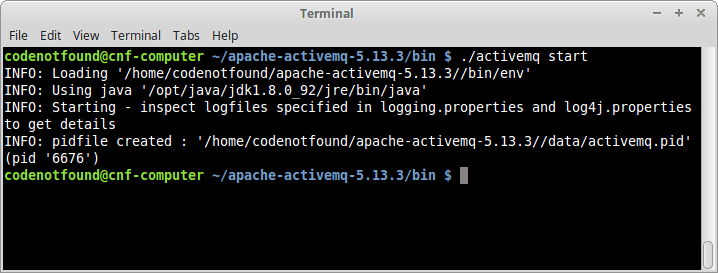 unix apache activemq start