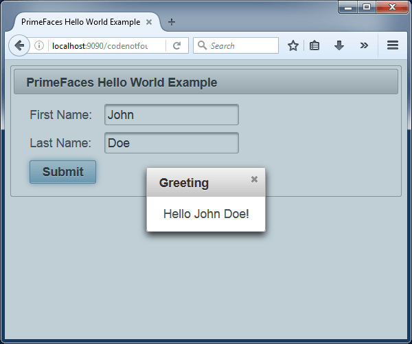 jsf primefaces apache tomcat hello world example greeting