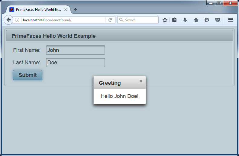 JSF - PrimeFaces Hello World Example using Jetty and Maven