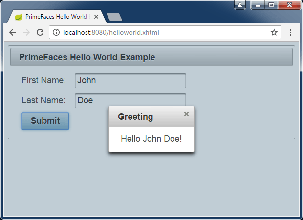 jsf primefaces spring boot hello world example greeting