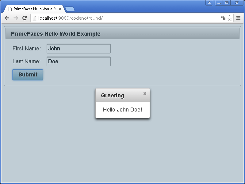 jsf primefaces websphere application server hello world example greeting