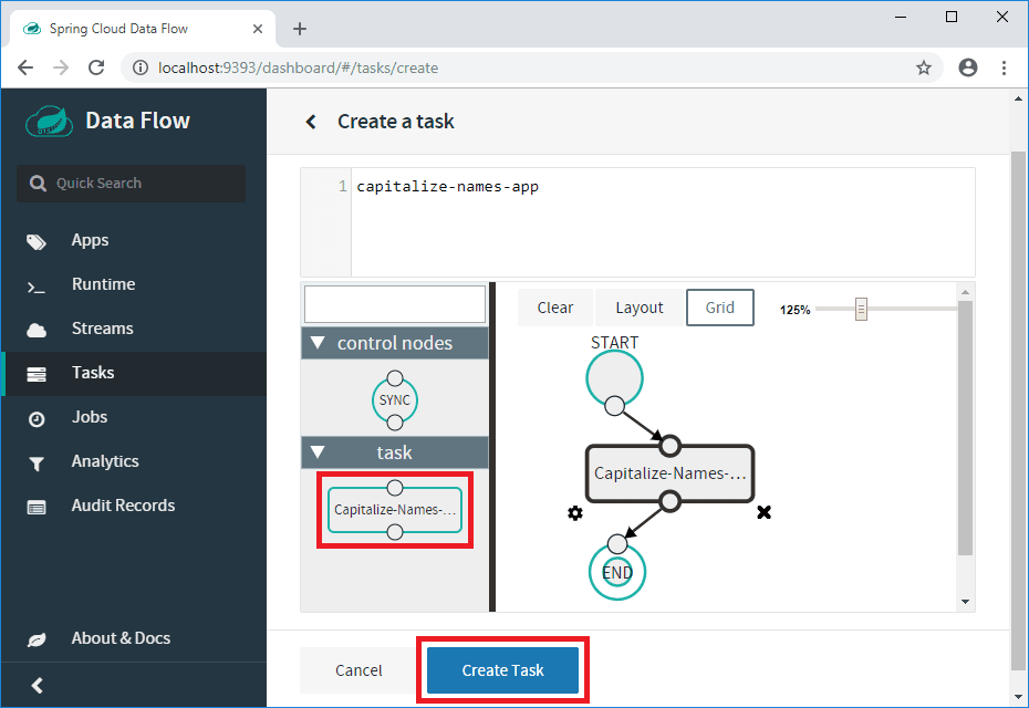 spring cloud data flow task visual editor